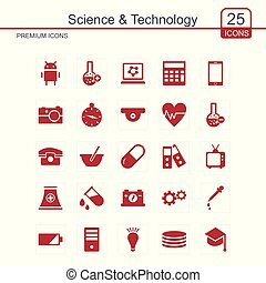Science and Technology icons set red