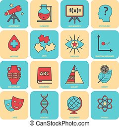 Science areas icons flat line