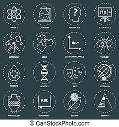Science areas icons outline