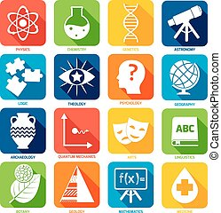 Science Areas Icons - Science areas flat icons set with...