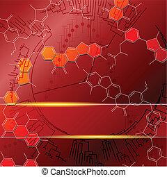science, arrière-plan rouge
