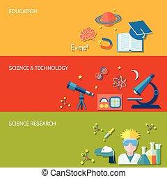 science, bannière, recherche