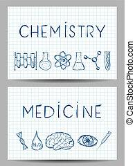 science, bannières, ensemble
