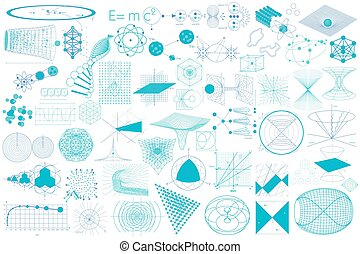 Big collection of elements, symbols and schemes of physics...