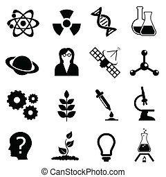 Science, biology, physics and chemistry icon set - Science...