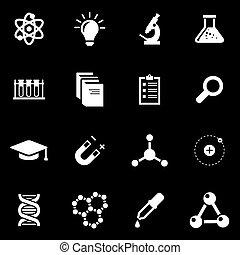 science, blanc, vecteur, ensemble, icône