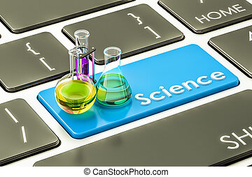Science blue button, key on the computer keyboard. 3D rendering