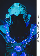 Science Blue LED lights armor made with plastics and lightweight materials.