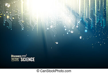 Science blue lights background.