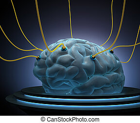 Brain with cables connected in a test of the power of the mind.