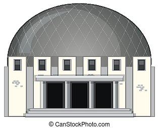 Science building with round roof illustration