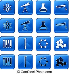 science buttons - collection of blue square science rollover...