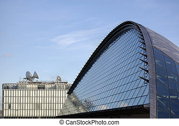 Science Centre and Sastellite dishes - Glass front of the...