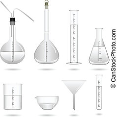 A set of science chemical lab equipment and tools.