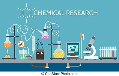 Science chemical laboratory vector illustration. Technician...