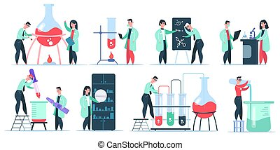 Science chemist characters. Science laboratory research, working chemistry clinic scientists. Pharmaceutical researchers vector illustration set