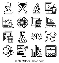 Science, Chemistry and Research Icons Set. Vector