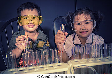 science, chimie, enfants, asiatique, laboratoire