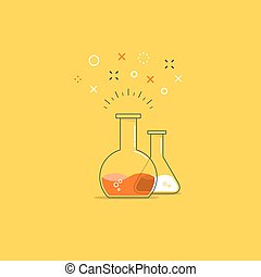 Science class, laboratory fun experiment icon and logo