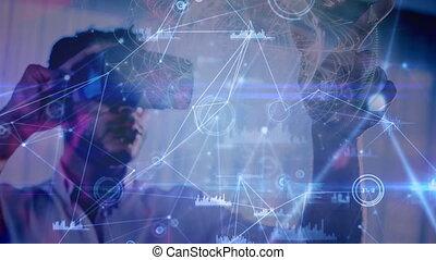 science, composition, diagrammes, augmented, bl, utilisation, animé, combiné, homme, réalité