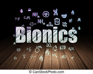 Science concept: Bionics in grunge dark room