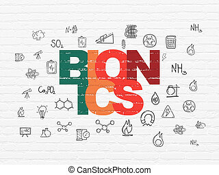 Science concept: Bionics on wall background