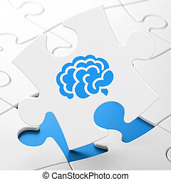 Science concept: Brain on puzzle background