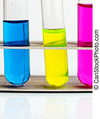 test tubes with colorful substances