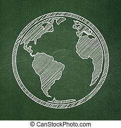 Science concept: Globe on chalkboard background