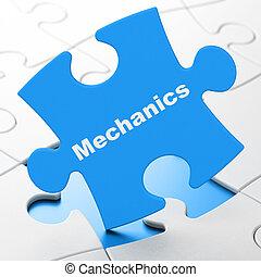 Science concept: Mechanics on puzzle background