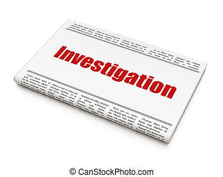 Science concept: newspaper headline Investigation on White...