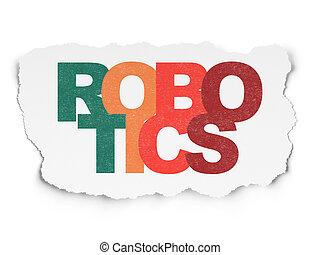 Science concept: Robotics on Torn Paper background