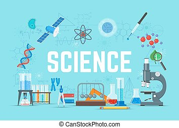 Science concept vector illustration, flat style design -...