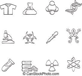 science, croquis, -, icônes