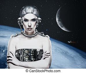 science, cyborg, arrière-plans, femme, technologie, résumé
