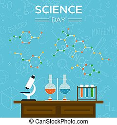 Science Day card of school tools for education