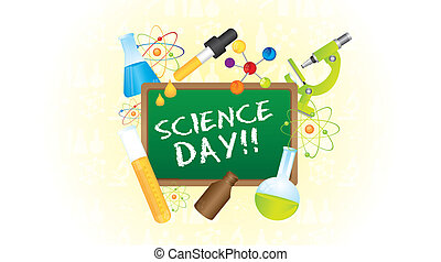 Science Day - Icons of science day over green chalkboard....