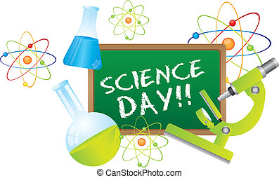 science day text over chalkboard with science elements....