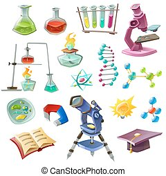 Science Decorative Icons Set - Science decorative icons set...
