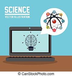 Science design. Colorfull illustration. Cartoon icon