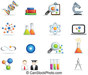science detailed icon set in full colour - detailed set of...