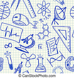 science, doodles, seamless, modèle