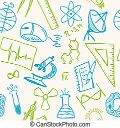 Science drawings on seamless pattern