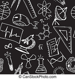 Science drawings on seamless pattern - scientific background