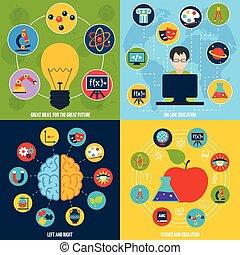 Science education set - Science flat icons education set...
