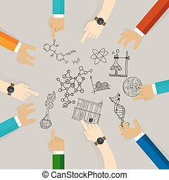 science education symbol university college student course on science materials. scientist collaboration on research