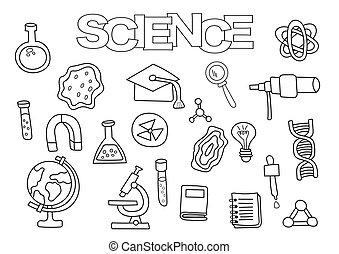 Science elements hand drawn set. Coloring book template.  Outline doodle
