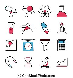 science, ensemble, icônes