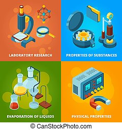Science equipment. Chemistry testing research laboratory school class lab vector isometric concept pictures