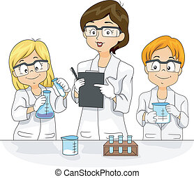 Illustration of Kids Conducting an Experiment